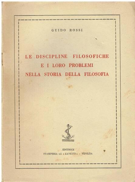 Le discipline filosofiche e i loro problemi nella storia della filosofia