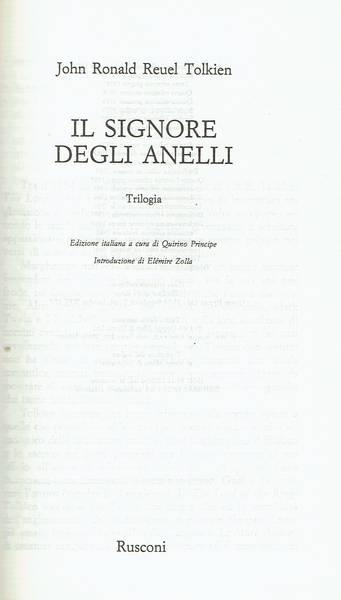 Il Signore degli anelli : trilogia