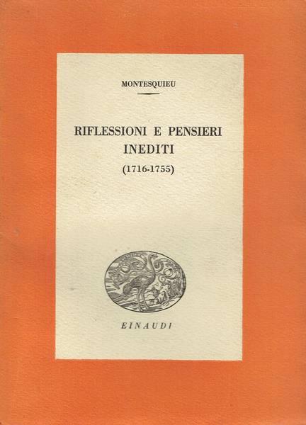 Riflessioni e pensieri inediti : 1716-1755