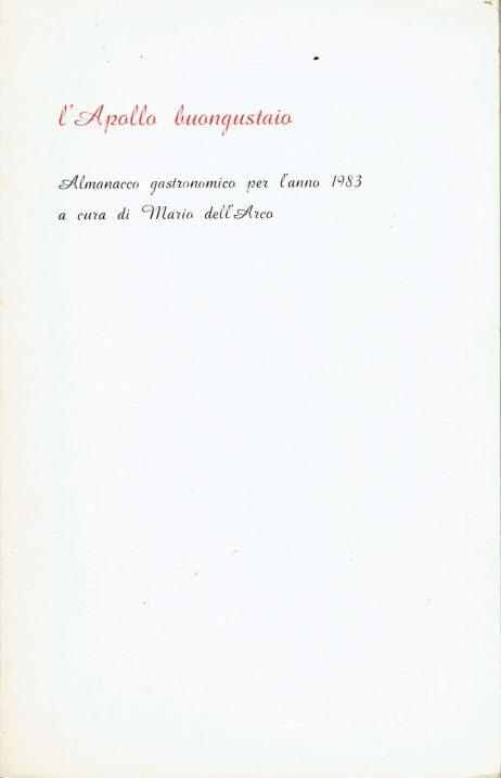 L'Apollo buongustaio : almanacco gastronomico per l'anno . .